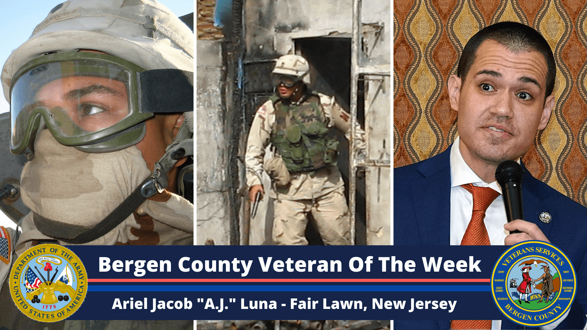 """Read more about the article Bergen County Veteran Of The Week: Ariel Jacob """"A.J."""" Luna"""